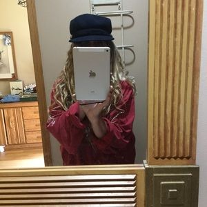 COACH NAVY WOOL CAP BRASS SNAPS